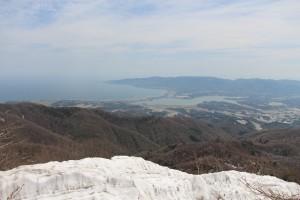 撮影地点から両津湾・加茂湖を望む